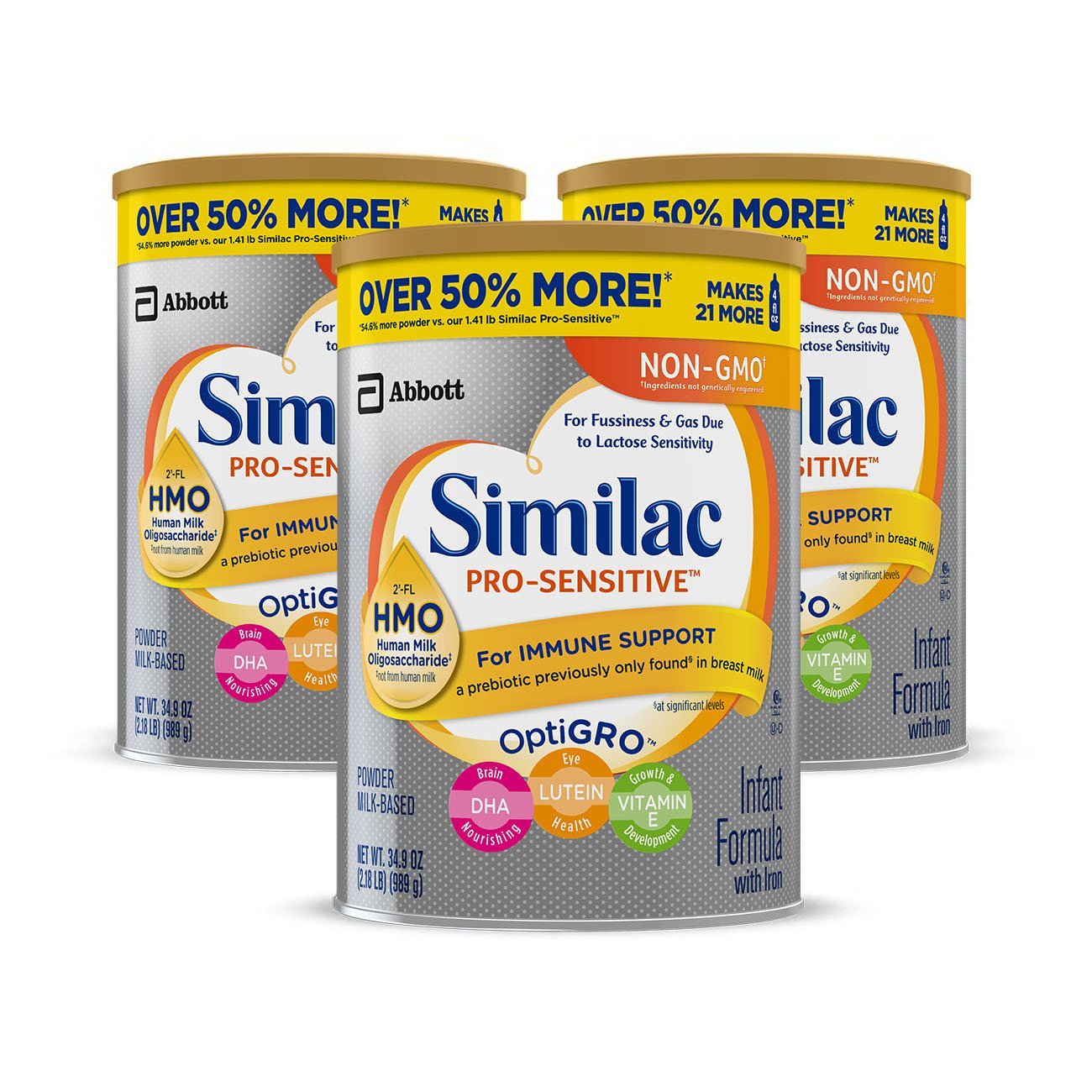 Similac Pro-Sensitive Non-GMO Infant Formula with Iron, with 2'-FL HMO, For Immune Support, Baby Formula, Powder, 34.9 oz, 3 Count (One Month Supply) by Similac