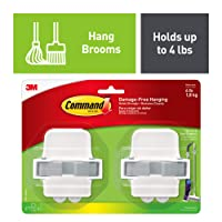 Command 17007-HW2ES Broom & Mop Grippers, White with Grey Band, 2 Grippers 4 Strips