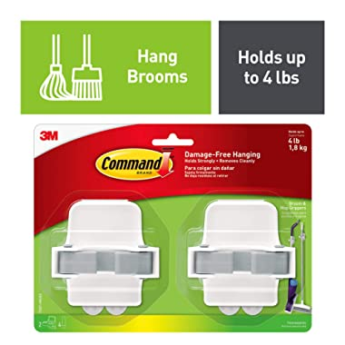 Command Broom Hanger, White, No Tools or Holes, Strong and Versatile, 2 grippers, 4 strips