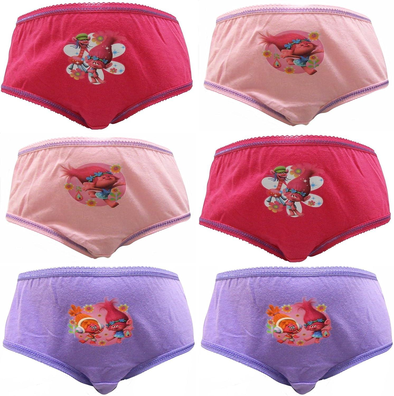 TDP Textiles Trolls Poppy & DJ Suki Girls 6 Pack Knickers Briefs