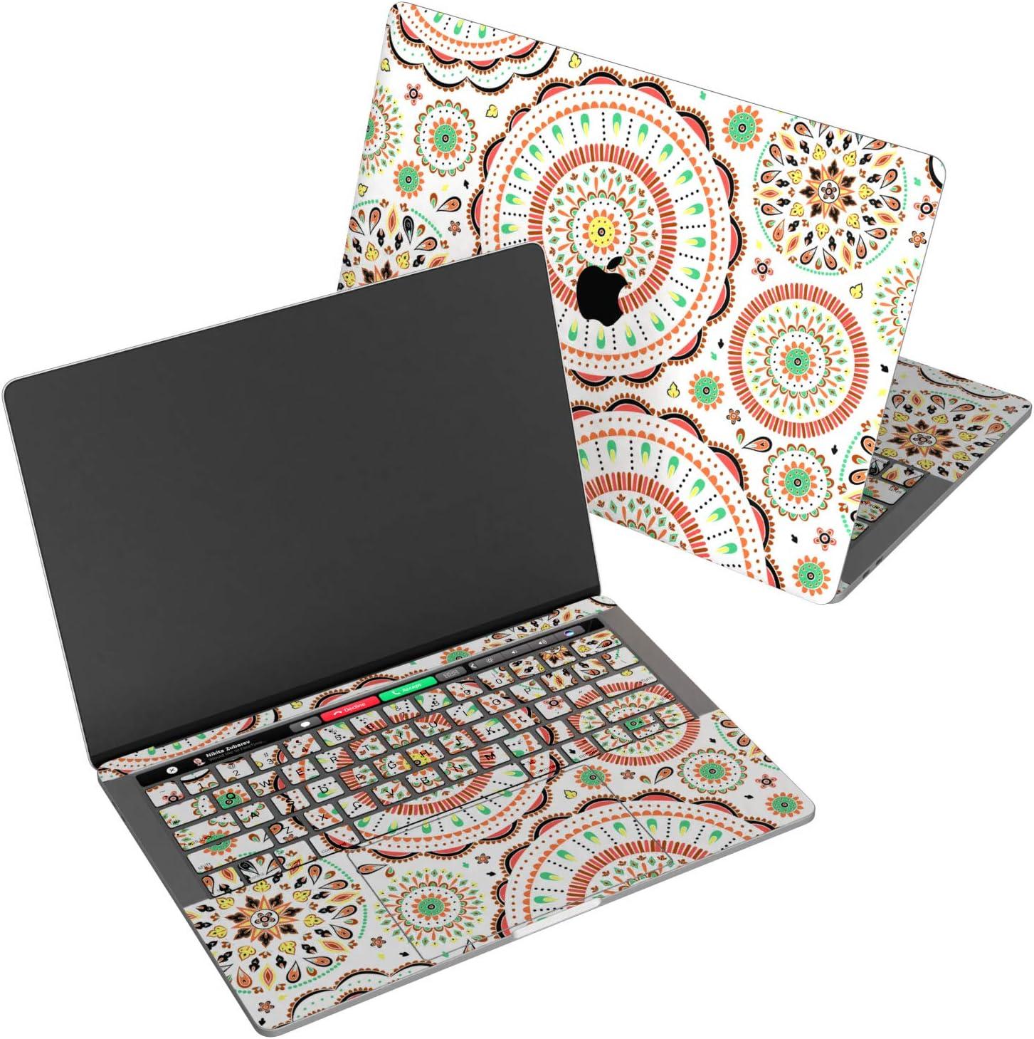 "Wonder Wild Skin for MacBook Decal Vinyl Air 11 inch Apple Mac 13 Retina 12 Pro 15 Keyboard 2019 2018 2017 2016 16"" Protective Sticker Laptop Mandala Ornament Pattern Colored Circle Kaleidoscope"