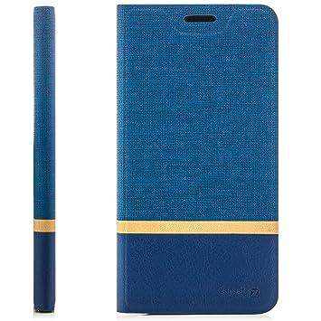 Zanasta Designs Funda Huawei Mate S Case Cubierta Carcasa Flip Cover Tapa Delantera con Billetera para Tarjetas Protectora, Cierre Abatible Azul
