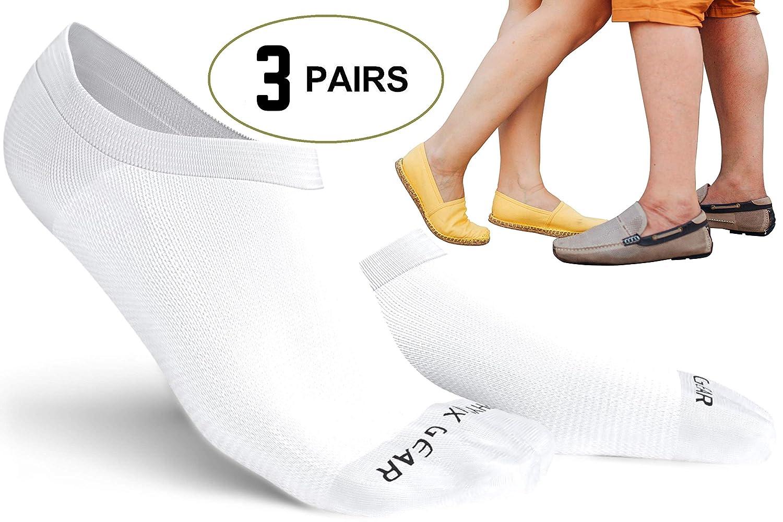 Physix Gear Sport Sneaker Socken für Damen und Herren Sportliche un Lässige mit Silizium Fersenhalt Antibakterielle Geruchsbindung & Schweißabsorbierende für Flache Mädchenschuhe