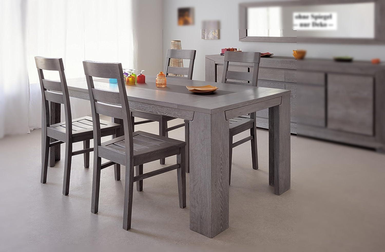 Esstisch 190 x 90 cm mit 4 Stühlen teilmassiv Eiche grau