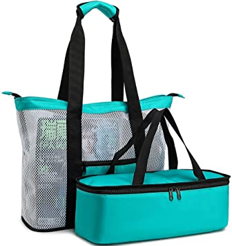 1e9e6eed12ae BLUBOON Mesh Beach Tote Bag with Cooler Compartment, Insulated Detachable  Picnic Cooler Bag and Solid Zip Top Closure, Pool Bag Toys Tote Bag Travel  ...