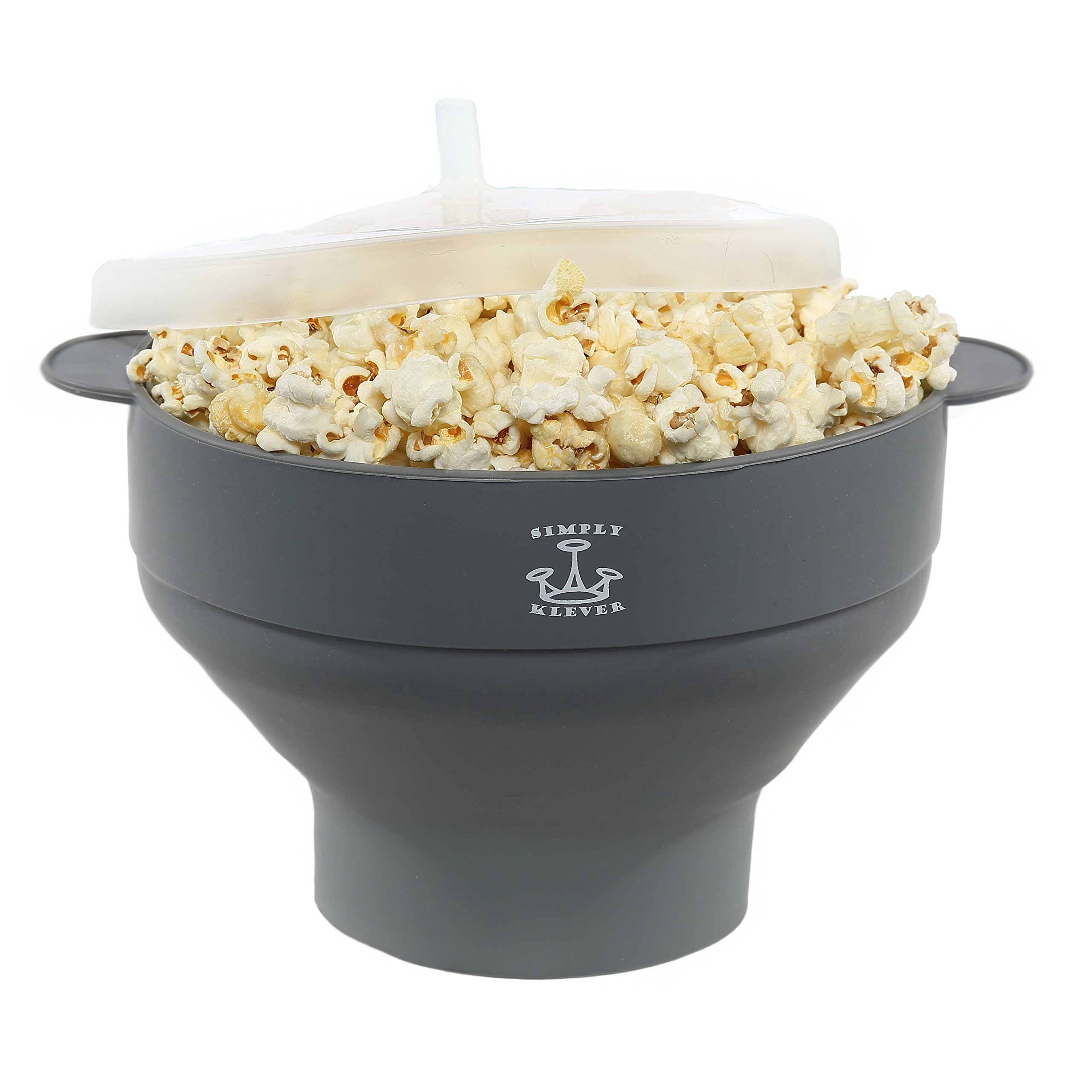 Simply Klever Microwave Popcorn Popper, Silicone Popcorn Maker, Collapsible Bowl BPA Free (Grey) - THE HEALTHY LOW CALORIE SNACK