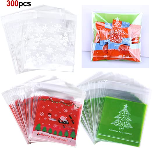 Supplies Pastry Tool Plastic Packaging Christmas Self-adhesive Xmas Candy Bags