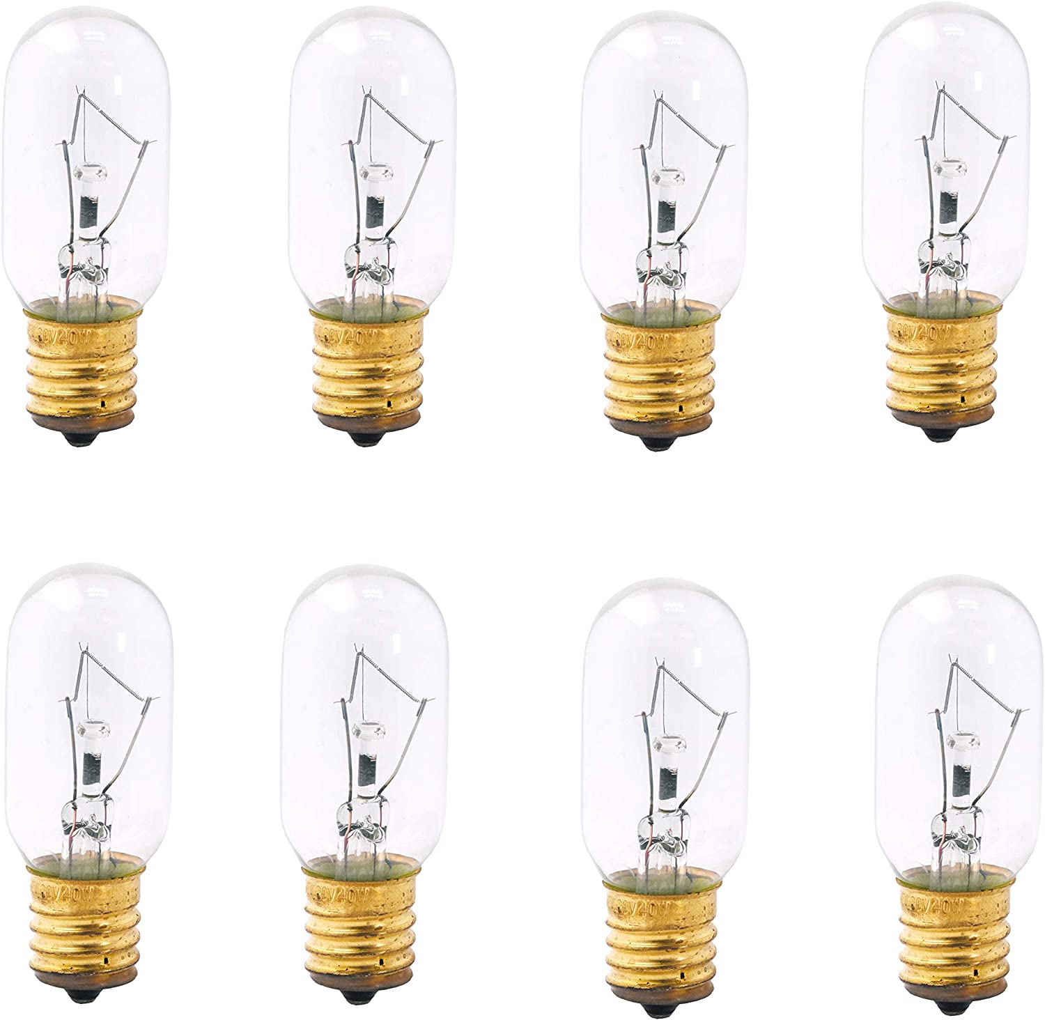 Mandala Crafts Appliance Light Bulbs for Microwave, Refrigerator, Oven; Dimmable, Intermediate Base, Pack of 8 (Warm White, E17 T8 120V 40 Watt)