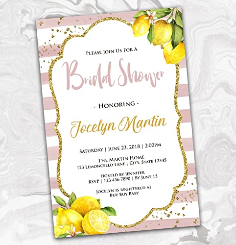 146af4d8ef66 Amazon.com  Lemon Bridal Shower Invitation - Pink and White Stripes Couples  Invite - Pink and Yellow - 4x6  Handmade