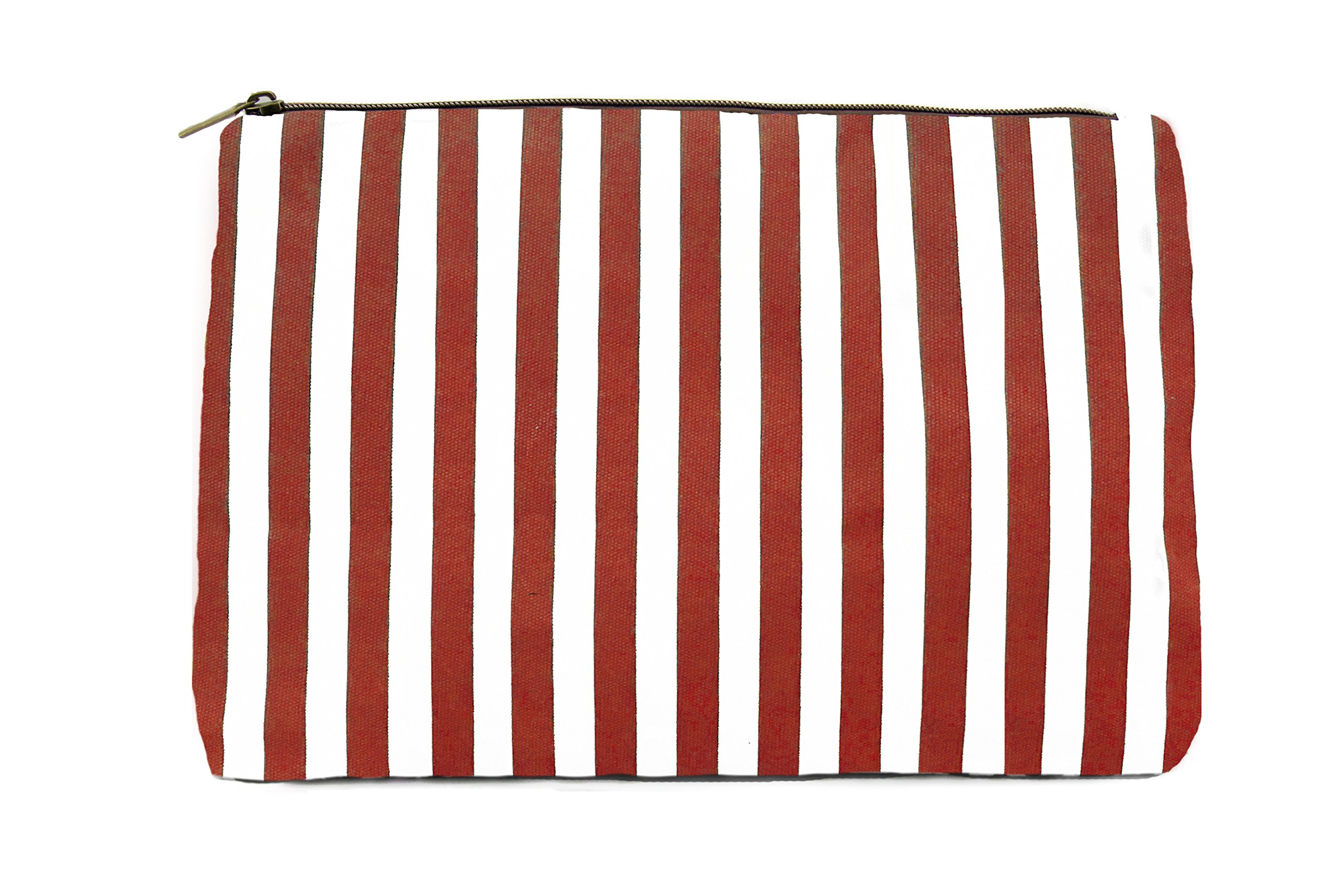 Limited Time Sale - Red Womens Striped Cosmetic Bag, Makeup Bag, Toiletry Bag, Organizer Bag, Small Travel Bag, Cosmetic Case, Makeup Pouch, Wallet, Jewelry Travel Bag (Red) MSRP $38