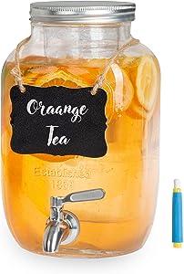 Outdoor Glass Beverage Dispenser with Stainless Steel Spigot, Ice Cylinder & Hanging Chalkboard - 1 Gallon Drink Dispenser for Lemonade, Tea, Cold Water & More