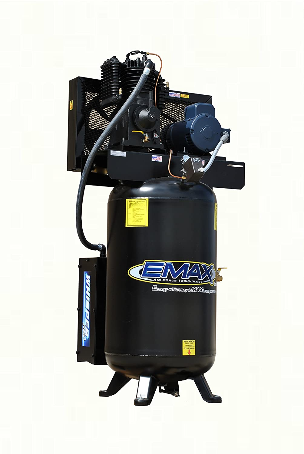 Emax Compressor Es05v080i1 Industrial 5 Hp 1ph 2 Stage Home A C Wiring Post 80 Gallon Vertical Air With Silencer Large Matte Black Improvement