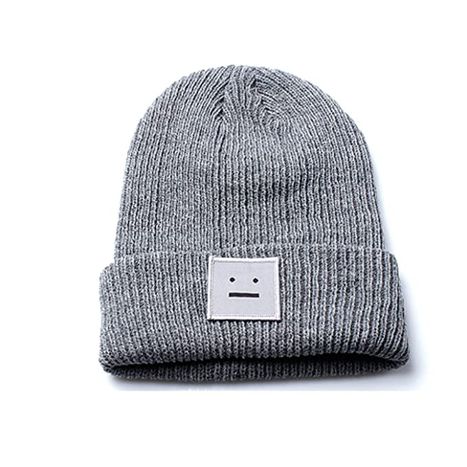 10d8994d1 Accessoryo Unisex Grey Beanie Hat with Embroidered Smiley Face Design
