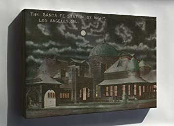 Canvas Santa Fe >> Amazon Com Canvas 24x36 Santa Fe Railroad Station By Night Los
