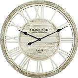 Rebecca Mobili Reloj de Pared Grande Decoración Hogar Oficina Madera Shabby Números Romanos Diámetro 60 cm