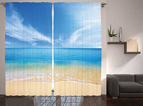 Ambesonne Ocean Curtains, Sandy Beach in Summer at a Hot Island with Clean Sky and Sea Picture, Living Room Bedroom Window Drapes 2 Panel Set, 108 X 90 , Brown Blue