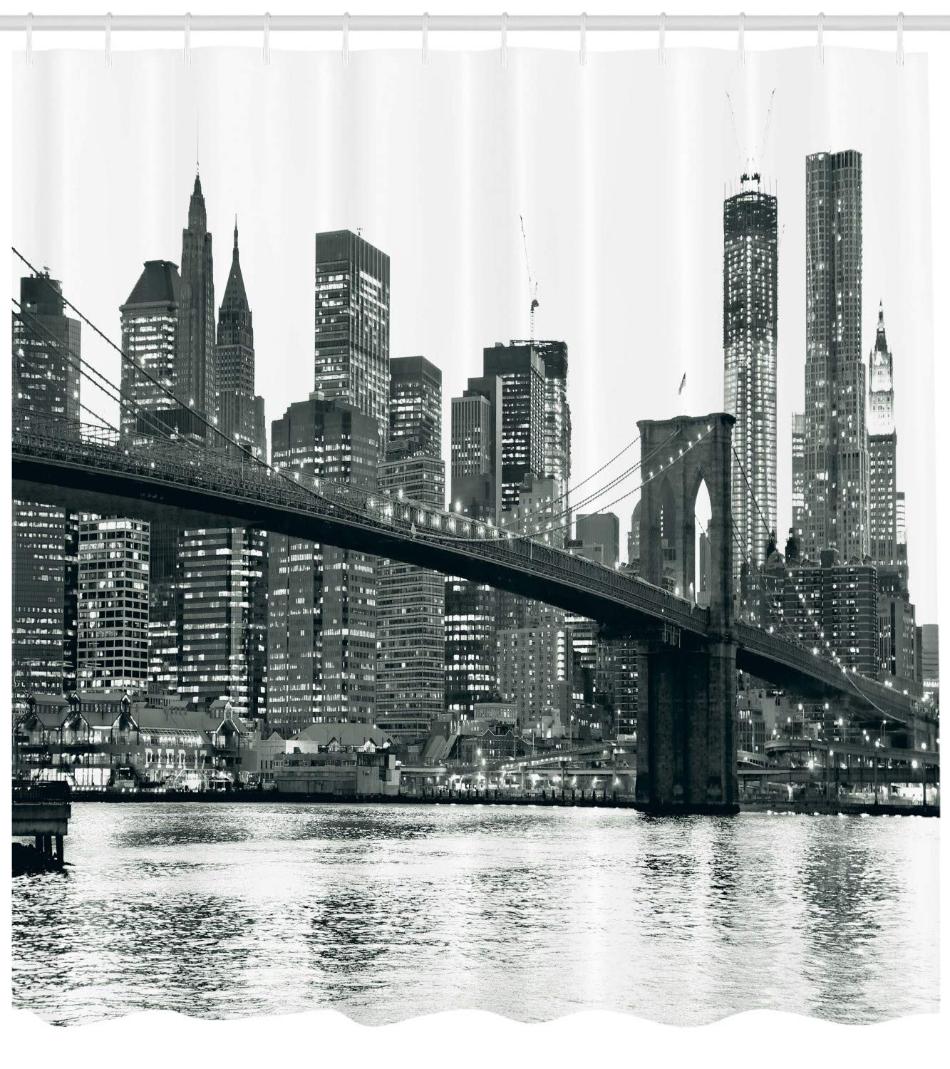 Ambesonne Modern Shower Curtain, Brooklyn Bridge Sunset with Manhattan American New York City Famous Town Image, Fabric Bathroom Decor Set with Hooks, 75 Inches Long, Black and White