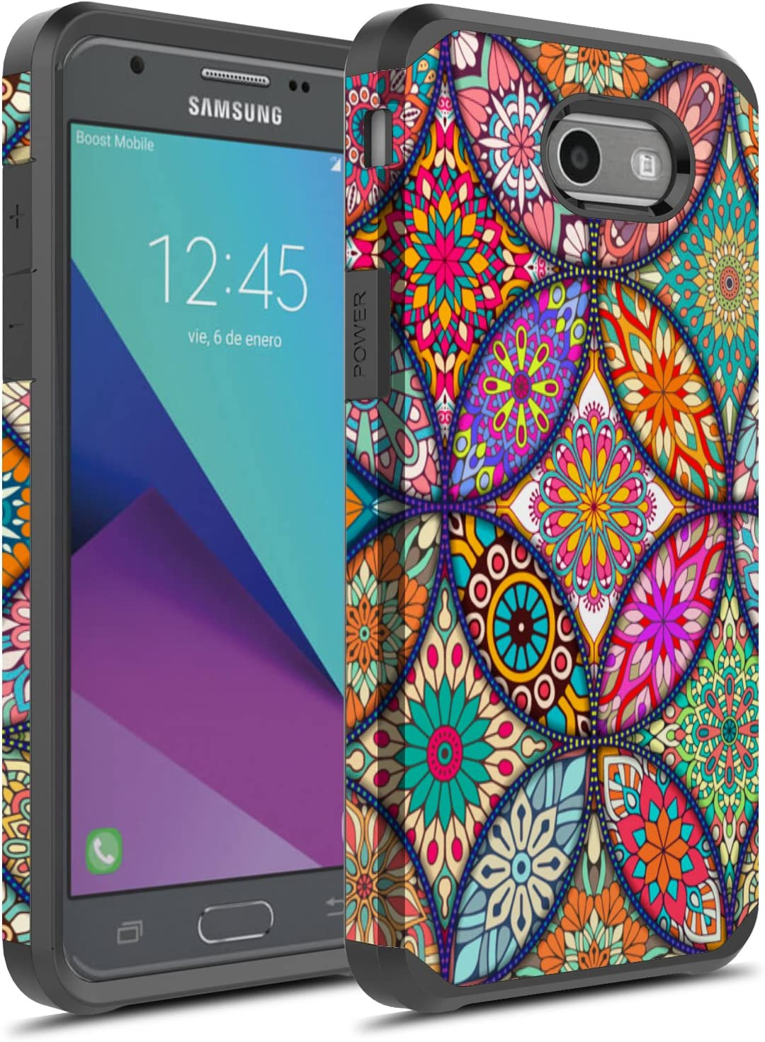 Galaxy J7 V 2017 Case,Galaxy J7 Perx Case,Galaxy J7 Prime// J7 Sky Pro//Halo Case with Screen Protector,NiuBox Dual Layer Armor Shock Absorption Protective Phone Case for Samsung Galaxy J7V 2017-Black