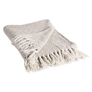 "DII Rustic Farmhouse Cotton Diamond Blanket Throw with Fringe For Chair, Couch, Picnic, Camping, Beach, & Everyday Use , 50 x 60"" - Double Diamond Stone"