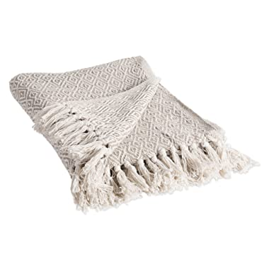 DII Rustic Farmhouse Cotton Diamond Blanket Throw with Fringe For Chair, Couch, Picnic, Camping, Beach, & Everyday Use , 50 x 60  - Double Diamond Stone