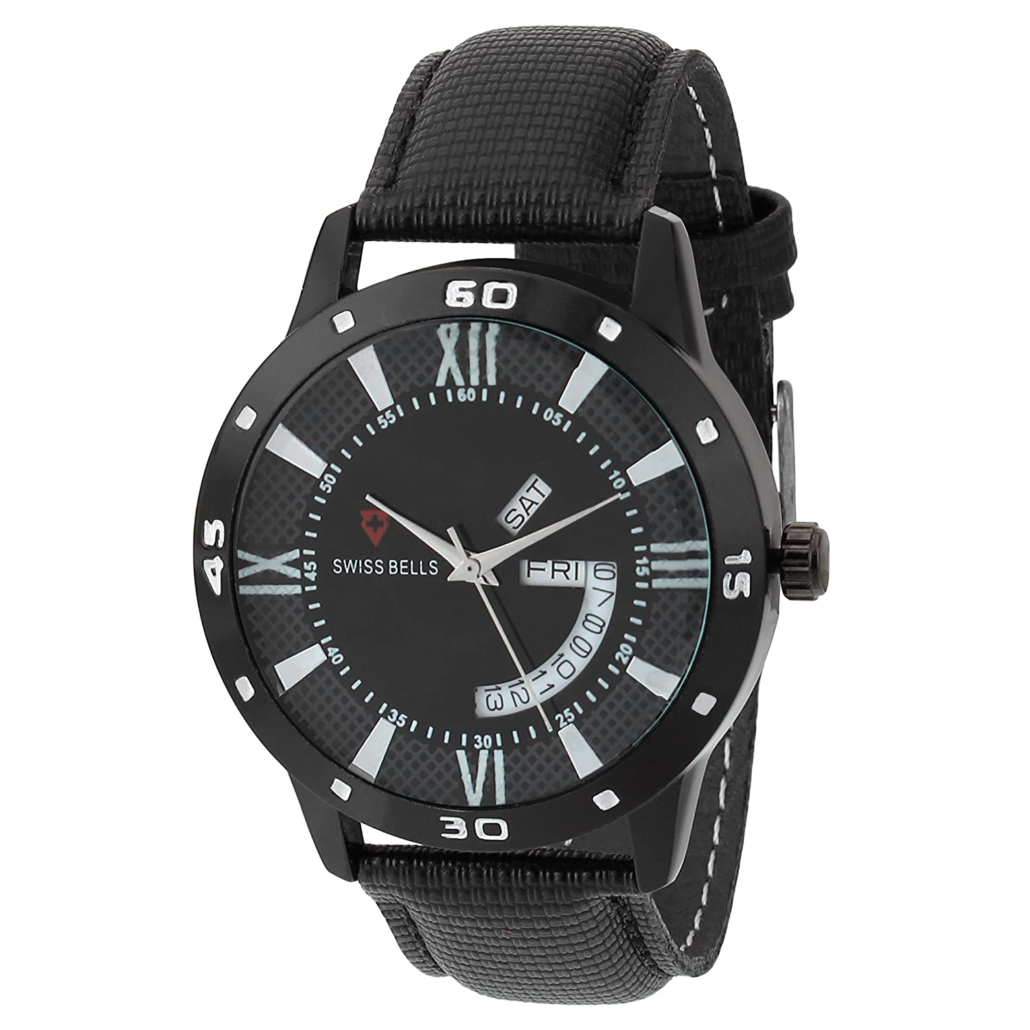 Svviss Bells Original Black Dial Black Genuine Leather Strap Day and Date Chronograph Men's Wrist Watch - TA-965