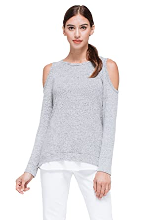 ead654634e52f8 Pleione Layered Long Sleeve Sweater Top with Cold Shoulder Cutout GREYWHITE  L at Amazon Women s Clothing store
