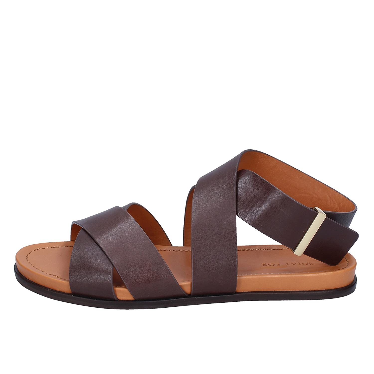 - WHAT FOR Sandals Womens Leather Brown