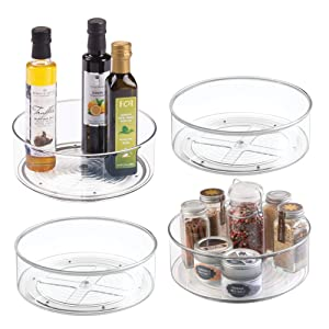 "mDesign Plastic Lazy Susan Spinning Food Storage Turntable for Cabinet, Pantry, Refrigerator, Countertop - Spinning Organizer for Spices, Condiments, Baking Supplies - 9"" Round, 4 Pack - Clear"