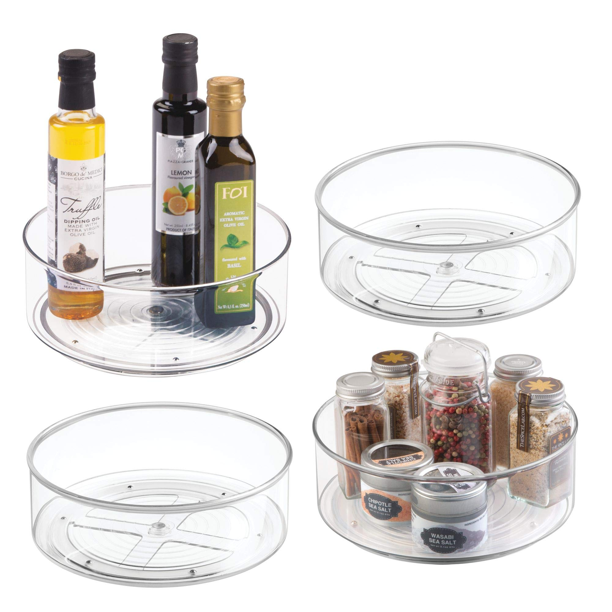 mDesign Plastic Round Lazy Susan Rotating Turntable, Food Storage Container for Cabinets, Pantry, Refrigerator, Countertops, Spinning Organizer for Spices, Condiments, Baking Supplies, 4 Pack - Clear