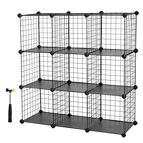 Beau SONGMICS Metal Wire Storage Cubes, DIY 9 Cube Closet Cabinet And Modular  Shelving Grids