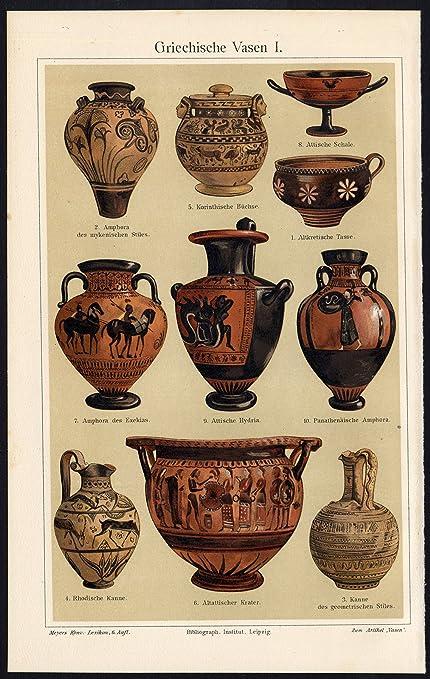 Amazon Antique Prints Greece Vases Amphora Bowl Plate I Meyers