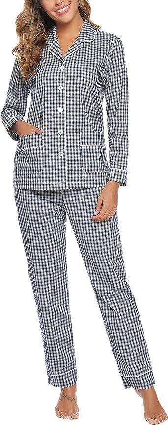 Aibrou Pijamas Mujer Invierno de Cuadros Pijama de Mangas ...