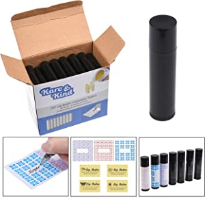 Kare & Kind Lip Balm Container Kit - 50x Lip Balm Tubes (Black), 50x Writable Sticker (3 colors), 50x Printed Stickers (Transparent) - for DIY Lip Balm - DIY Homemade Cosmetics - Home Travel Gift Idea
