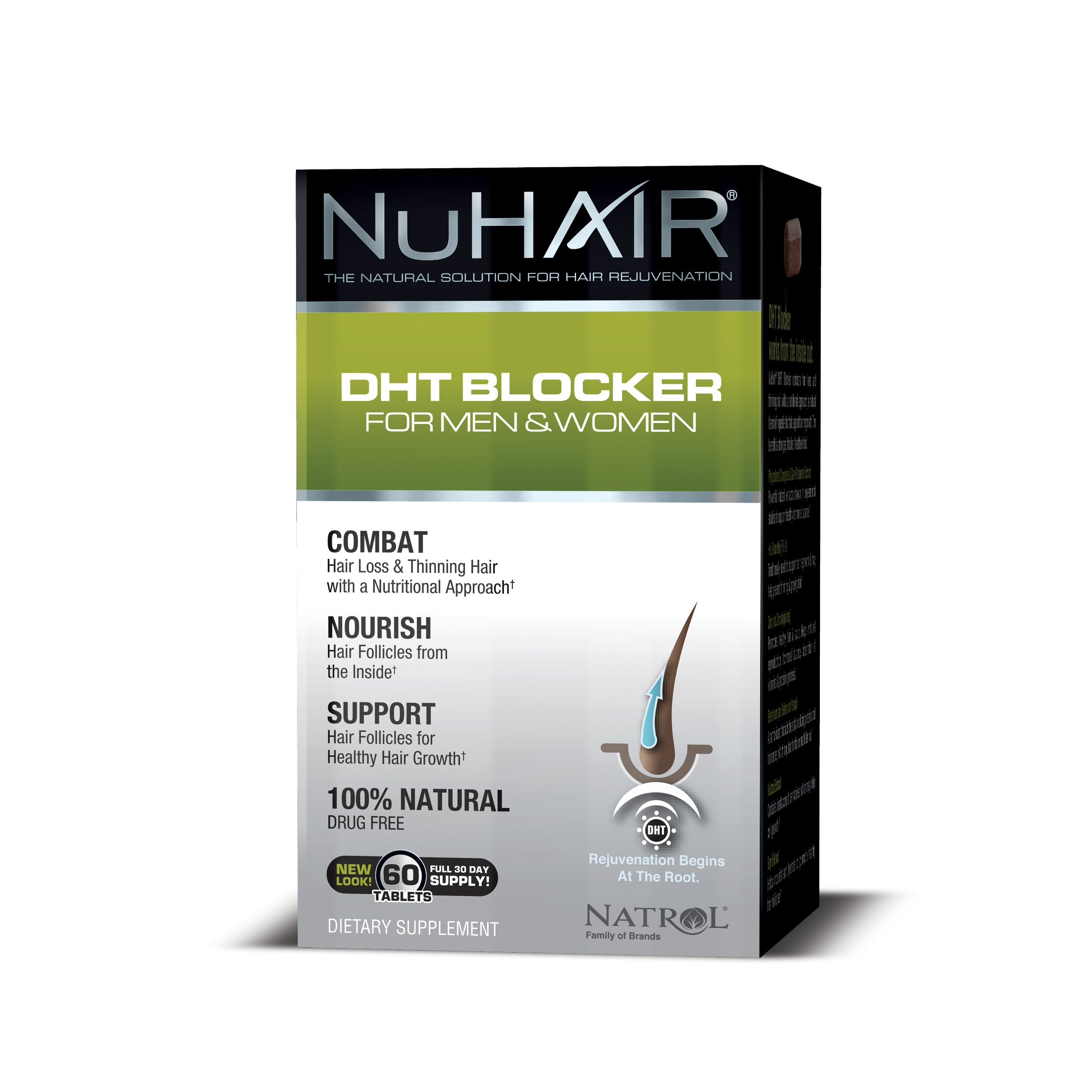 Nu Hair DHT Blocker for Men and Women, Tablets, 60 Count by Nu-Hair