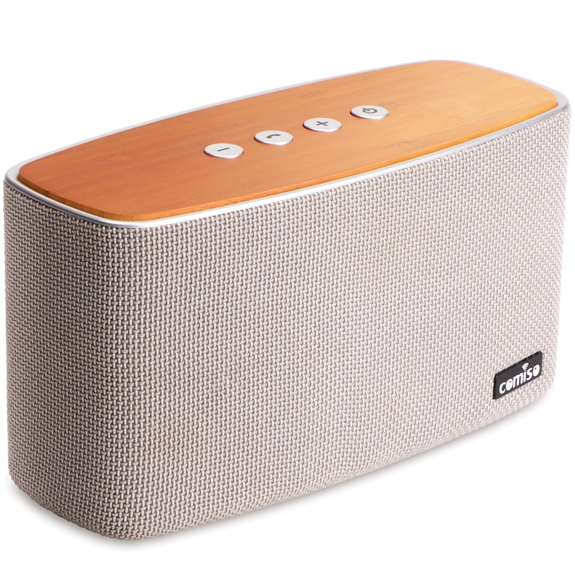 COMISO NatureAudio 30W Bluetooth Speakers, Loud Bamboo Wood Home Audio Wireless Speaker Super Bass Stereo Sound, 66 ft Bluetooth Range, Built-in Mic Home, Outdoors Party Subwoofer (Grey) by COMISO