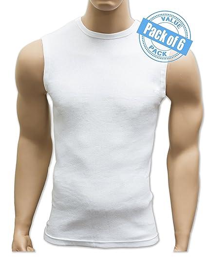 32beb8788962d5 Amazon.com  Andrew Scott Men s 6 Pack Sleeveless Muscle Crew Tank Top Tee  Shirts  Clothing