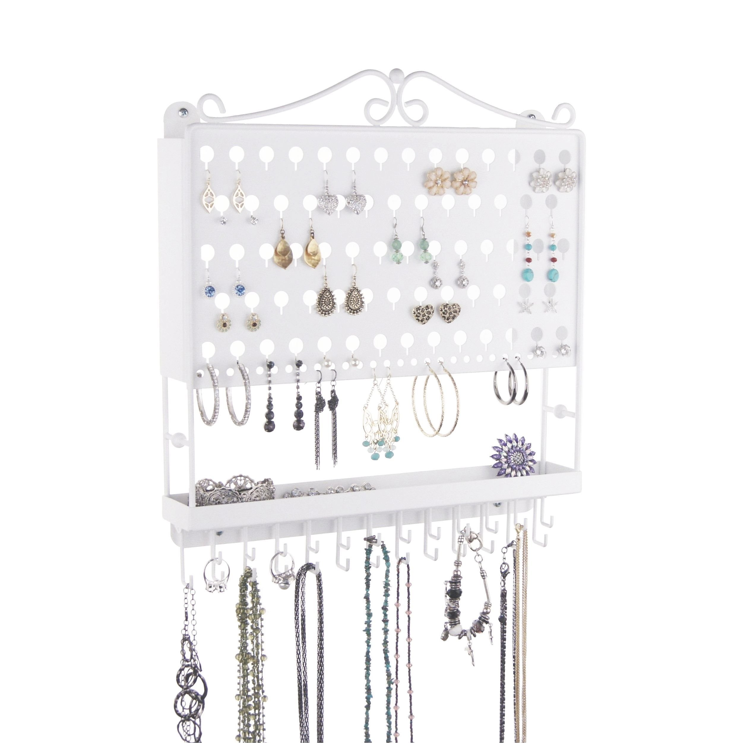 Wall Mount Jewelry Organizer Earring Holder Necklace Display Closet Storage Rack, White