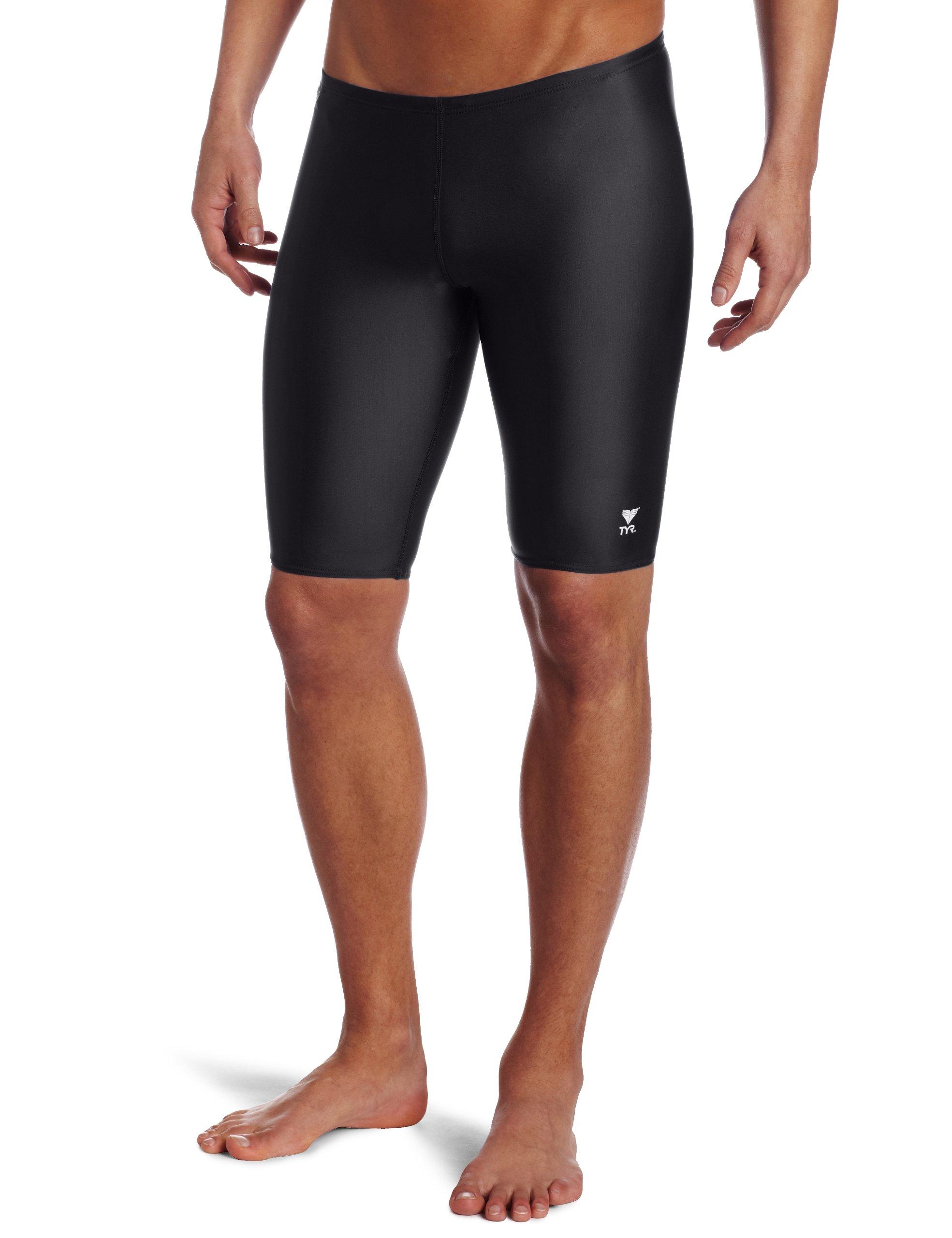 TYR Sport Men's Solid Jammer Swim Suit,Black,34