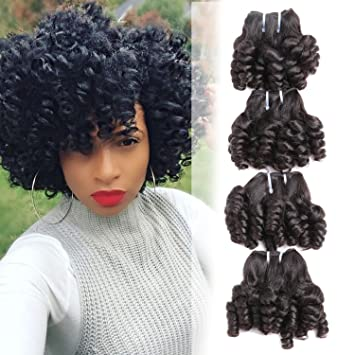Brazilian Funmi Curly Human Hair 4 Bundles Natural Omber Black Unprocessed  Remy Hair Short Bouncy Curls a8d32fcf0da6