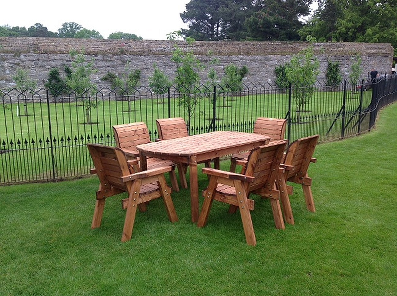 hgg wooden garden table and 6 chairs dining set outdoor patio solid wood garden furniture amazoncouk garden outdoors