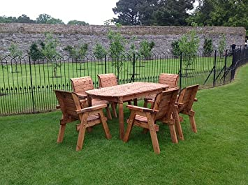 hgg wooden garden table and 6 chairs dining set outdoor patio solid wood garden furniture
