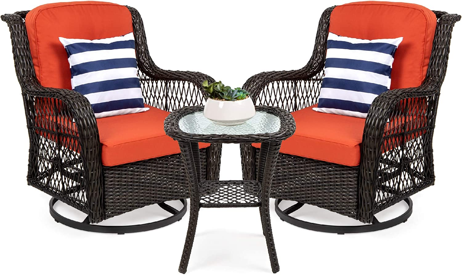Best Choice Products 3-Piece Patio Wicker Bistro Furniture Set w/ 2 Cushioned Swivel Rocking Chairs, Side Table - Rust