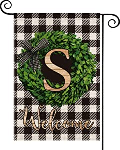 AVOIN Boxwood Wreath Monogram Initial Family Last Name S Garden Flag Vertical Double Sided, Welcome Buffalo Check Plaid Rustic Farmhouse Flag Yard Outdoor Decoration 12.5 x 18 Inch