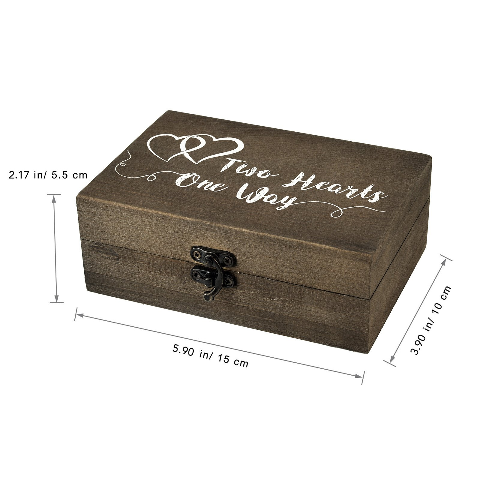 AW Wood Ring Box Rustic Ring Bearer Holder Decorative Wedding Engagement Jewelry Boxes 5.9'' x 3.9'' x 2.17'' by AWEI (Image #7)