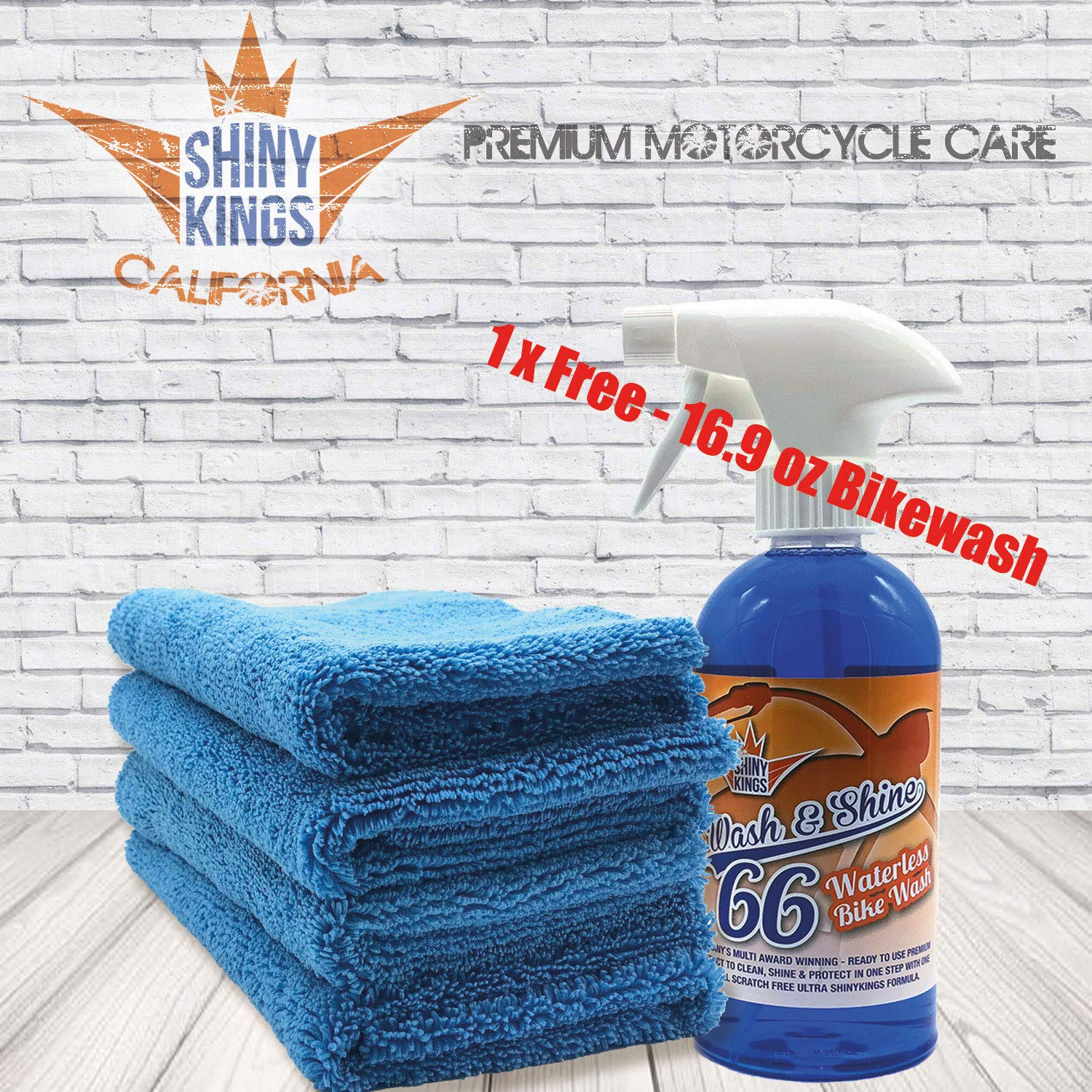 Shinykings 4 x Motorcycle wash Cleaning Towel 16x16 in Plus 1 Free 16.9 oz waterless Bike wash | Extra Soft and Gentle Towel Motorcycle wash | usable on All Surfaces of Motorcycle