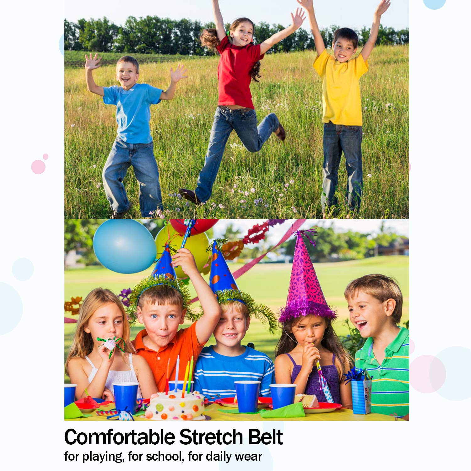 No Buckle No Hassle Buckle Free. Girl,Perfect for Potty Training and School Kids Pants No Buckle Elastic Belts for Kids Adjustable Stretch Belts for Baby//Toddler,Boy