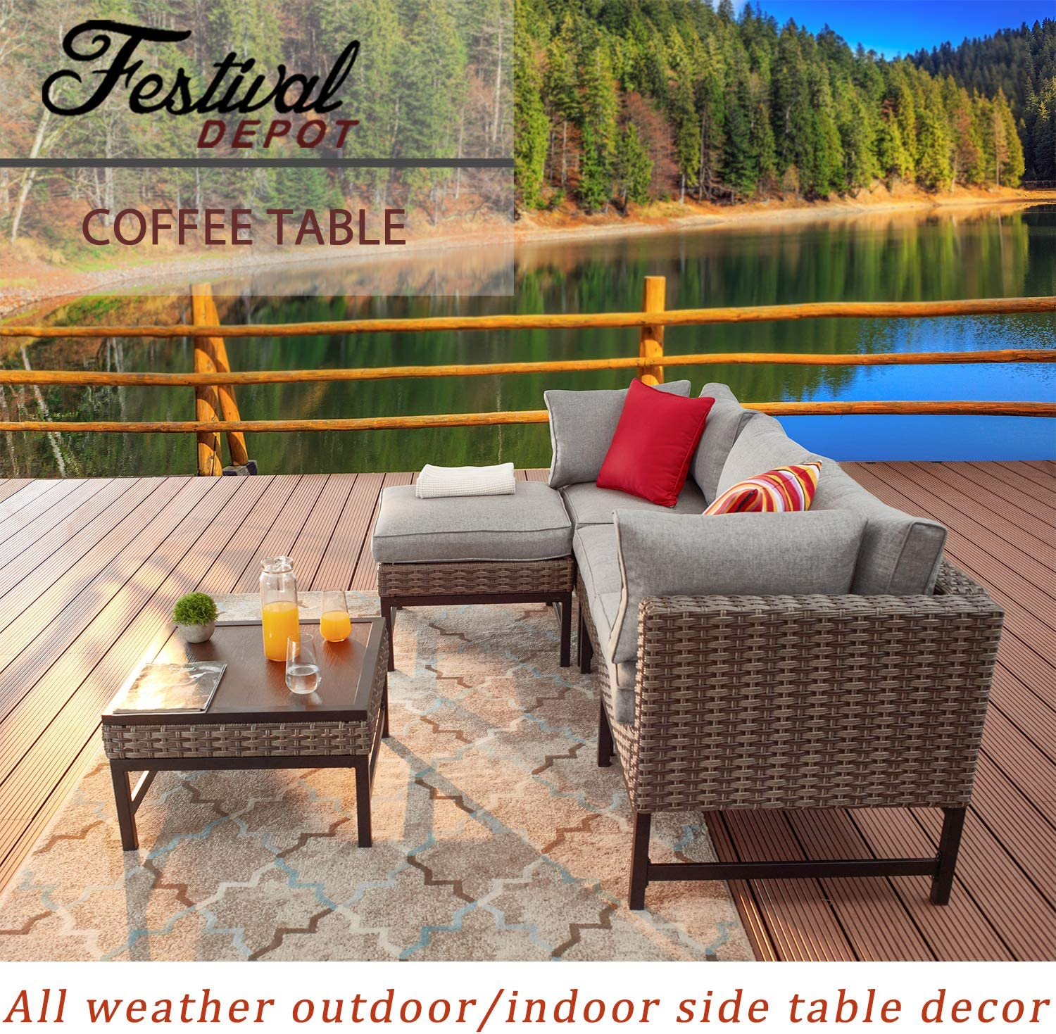 Festival Depot Metal Outdoor Side Coffee Table Patio Bistro Living Room Dining Table Wood Grain Top Wicker Rattan Furniture with Steel Legs Brown Black Rectangle