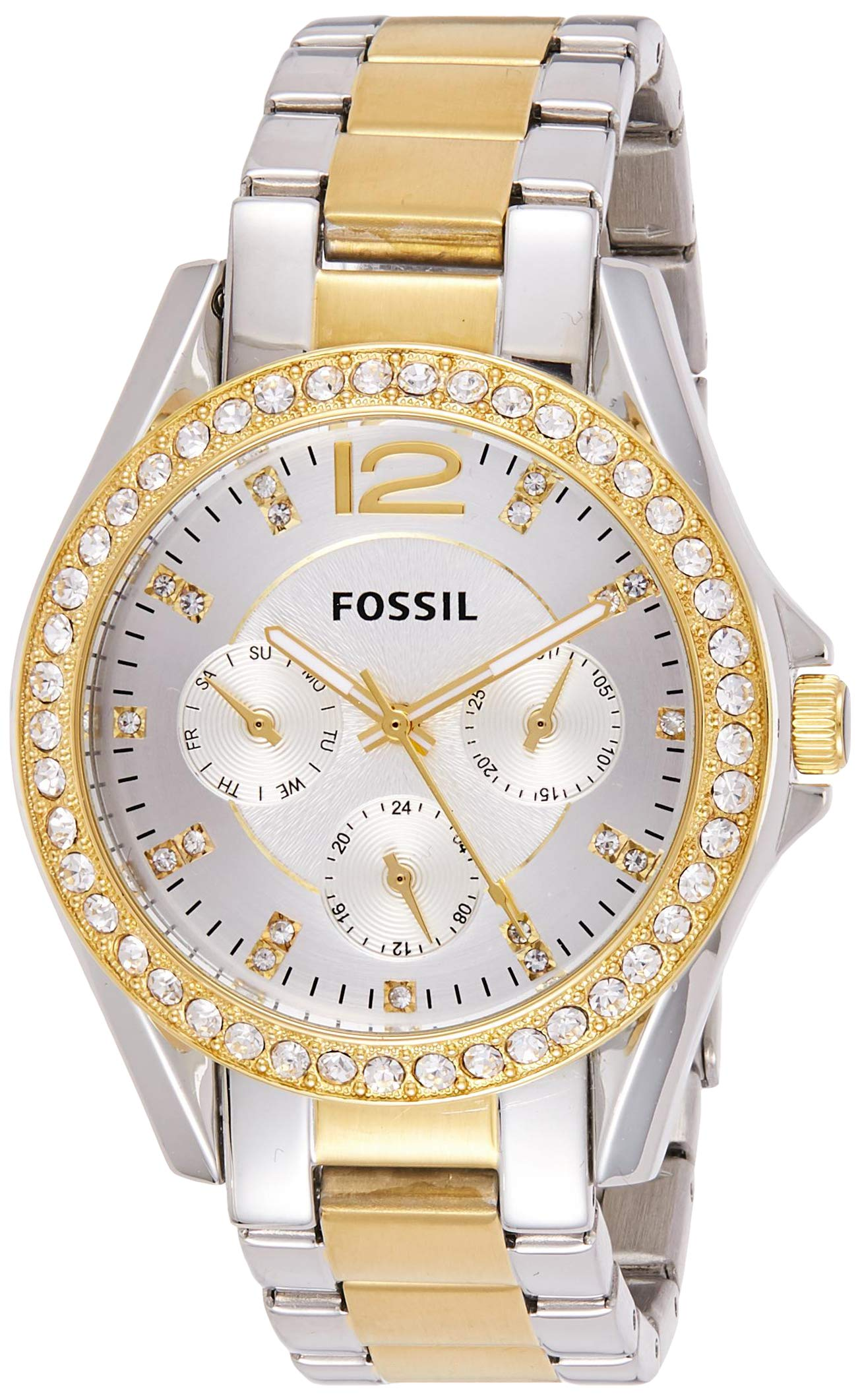 Fossil Women's Riley Quartz Two-Tone Stainless Steel Chronograph Watch, Color: Silver, Gold (Model: ES3204) by Fossil