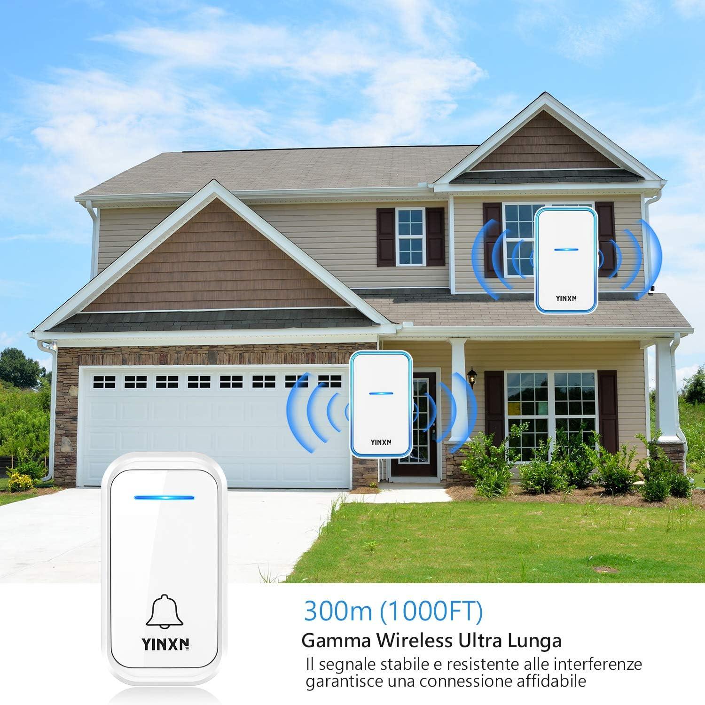 oficina YINXN timbre inal/ámbrico exterior IP55 impermeable a 300 m de alcance con 2 receptores Timbre inal/ámbrico de exterior hotel 38 timbre para casa 4 niveles de volumen