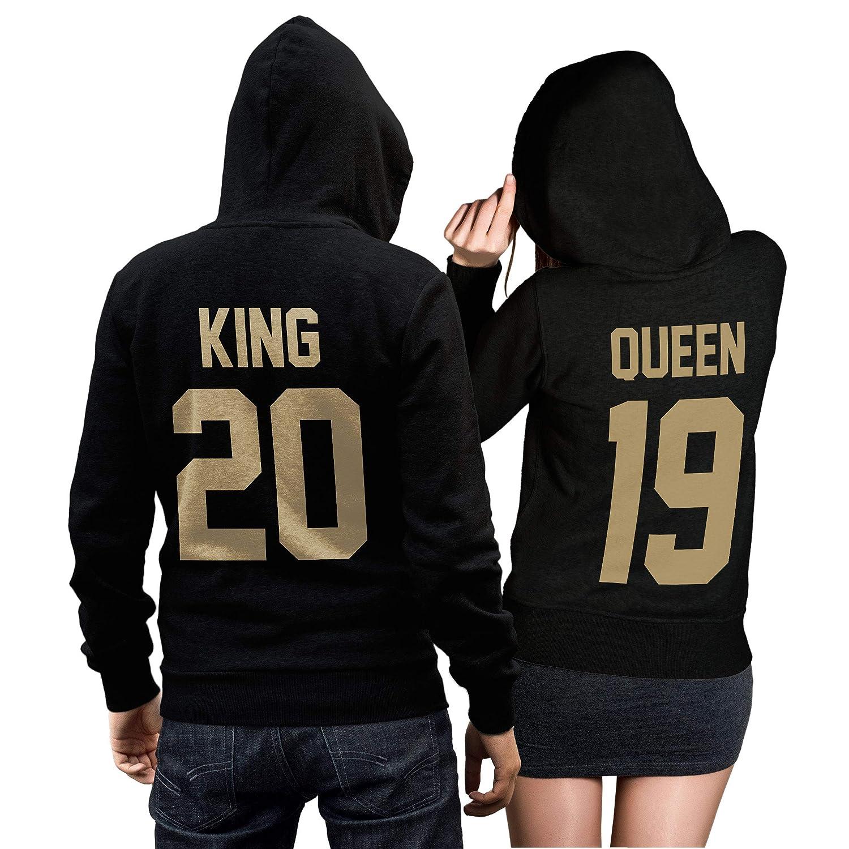 Pulli Liebe Love P/ärchen Geschenk Couple Schwarz//Gold Zwei Hoodies f/ür Paare King Queen Pullover Set